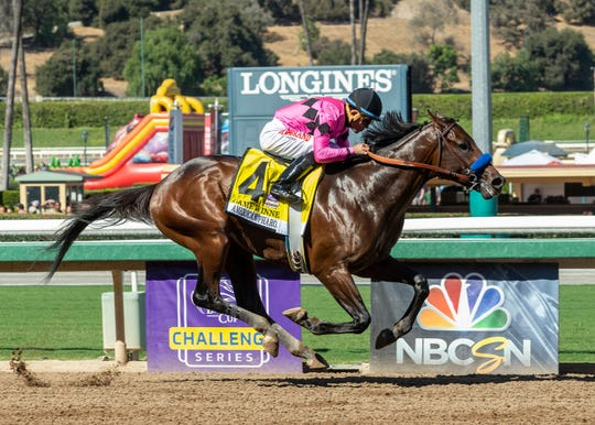 Game Winner and jockey Joel Rosario win the Grade I $300,000 American Pharoah Stakes horse race Saturday, Sept. 29, 2018, at Santa Anita in Arcadia, Calif.