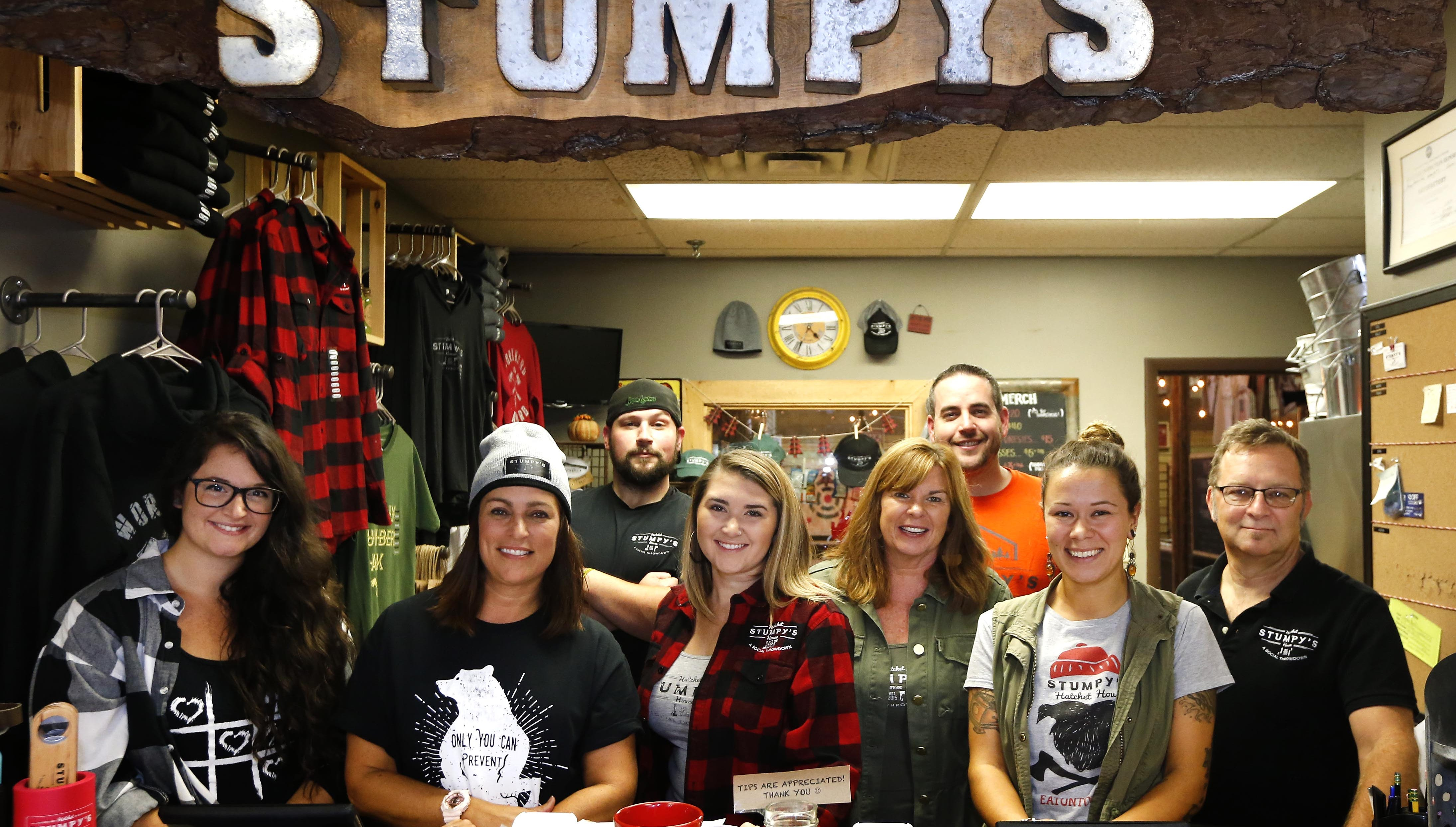 Owners and staff of Stumpy's Hatchet House in...