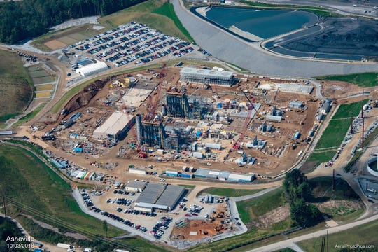 An October 2018 aerial view of Duke Energy's new combined cycle plant in Arden, which is planned to open in late 2019. The project is expected to cost $893 million and will replace the company's coal-fired power plant on the property.