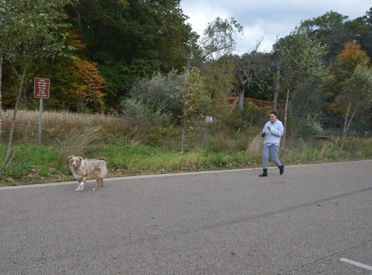 Kaci Sparks of Battle Creek walks her dog, Chief, at Historic Bridge Park on Monday, October 15, 2018.