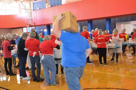 The 100,000 meals from the United Way of the Battle Creek and Kalamazoo Region and Kellogg Co. food-packing event on Oct. 16, 2018, will be sent to the Food Bank of South Central Michigan and then distributed to local food pantries.