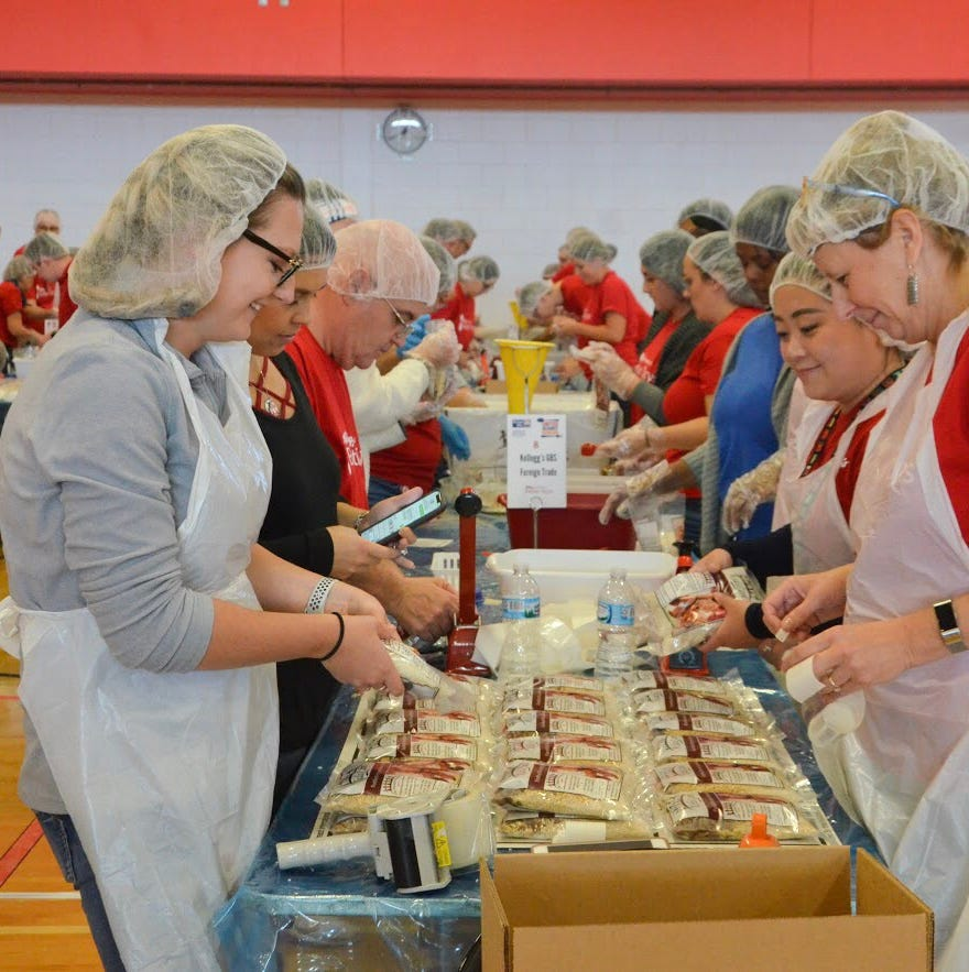Battle Creek volunteers put together 100,000 meals for local food banks in just 2 hours