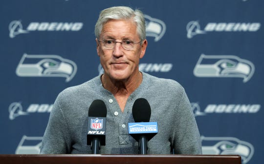 Seahawks coach Pete Carroll discusses the death of team owner Paul Allen during his weekly news conference on Tuesday.