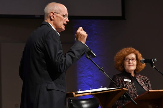 Brevard School Board District 2 candidates Charles Parker and Cheryl McDougall participated in a candidate forum at Calvary Chapel on Merritt Island.