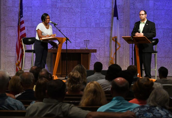 Democrat Victoria Mitchner and Republican Brian Lober, both 34-year-old political newcomers from Merritt Island, are running for the Brevard County Commission District 2 seat. They expressed their views on the issues earlier this month in a candidate forum at Calvary Chapel on Merritt Island.