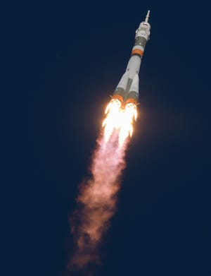 The Soyuz MS-10 spacecraft is launched with Expedition 57 Flight Engineer Nick Hague of NASA and Flight Engineer Alexey Ovchinin of Roscosmos, Thursday, Oct. 11, 2018 at the Baikonur Cosmodrome in Kazakhstan. During the Soyuz spacecraft's climb to orbit, an anomaly occurred, resulting in an abort downrange. The crew was quickly recovered and is in good condition.