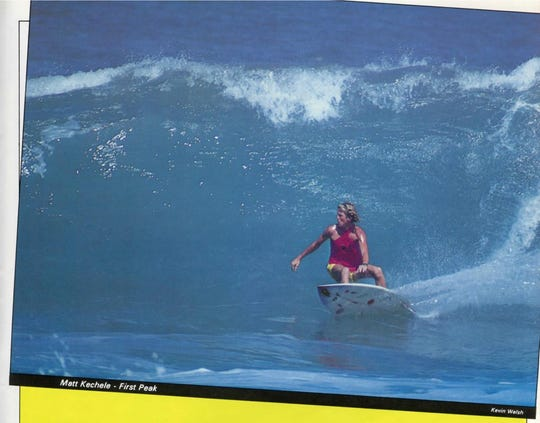 This picture shows Matt Kechele riding a wave at Sebastian Inlet during the Sutbbies Pro that he won in 1981. He has recreated the surfboard he is riding in the picture at it will be raffled off at the Surf Museum in Cocoa Beach.