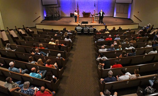 About 150 people attended a candidate forum Monday at Calvary Chapel on Merritt Island.