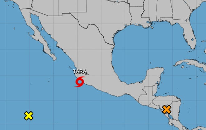 Shown is the 8 a.m. Oct. 16, 2018, weather advisory, showing Tropical Storm Tara and Disturbance 1 near Honduras.
