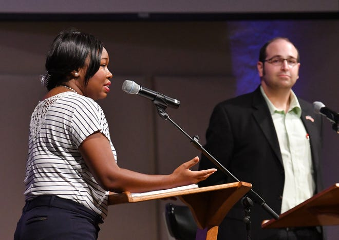 District 2 Brevard County Commission candidates Victoria Mitchner, a Democrat, and Brian Lober, a Republican,  participated in a candidate forum at Calvary Chapel on Merritt Island.