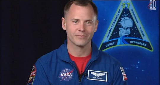 Back home in Houston, NASA astronaut Nick Hague on Tuesday, Oct. 16, 2018, discussed his experience during the aborted Soyuz rocket launch to the International Space Station on Thursday, Oct. 11, 2018.