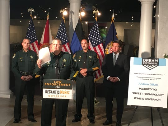 Sheriffs from Brevard, Marion, Flagler and Seminole counties endorsed Ron DeSantis on Oct. 16, 2018, at the Police Hall of Fame in Titusville.