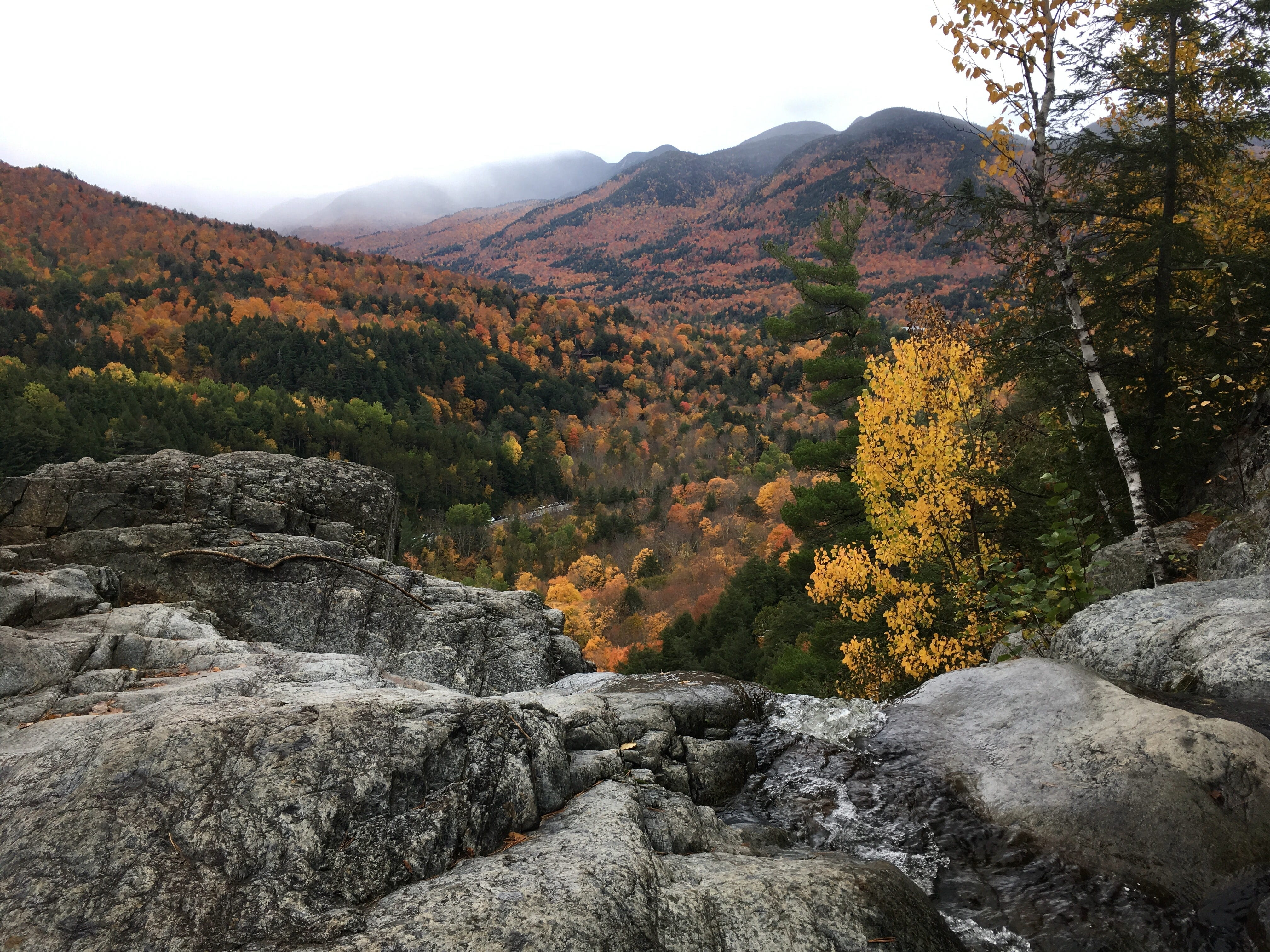 The view from the top of Roaring Brook Falls in New York's Adirondack Park on Oct. 13, 2018.