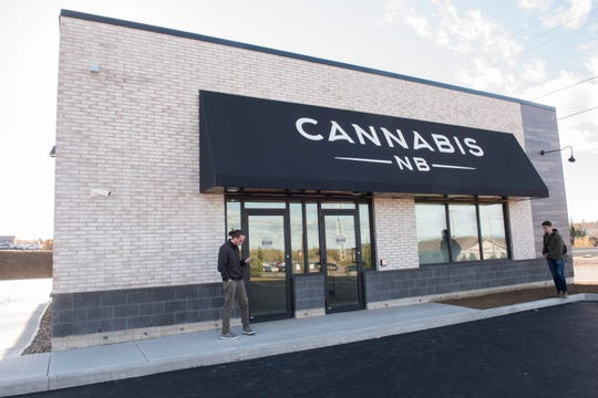 The exterior of a Cannabis NB retail store is shown in Fredericton, New Brunswick, on Tuesday, Oct. 16, 2018. (Stephen MacGillivray/The Canadian Press via AP)