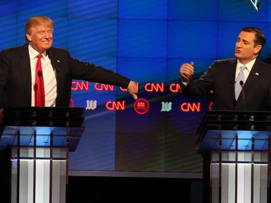 Donald Trump and Ted Cruz on a debate stage during the 2016 GOP presidential campaign.