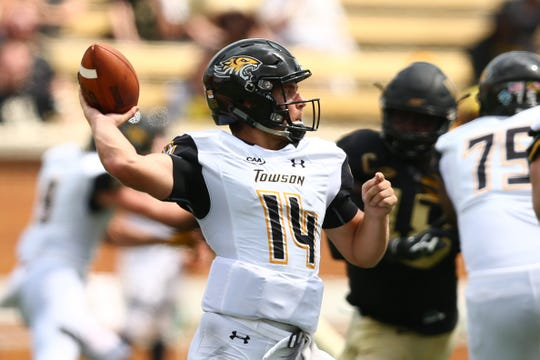 Towson quarterback Tom Flacco has found a home with the Tigers after making stops at Western Michigan and Rutgers earlier in his career.
