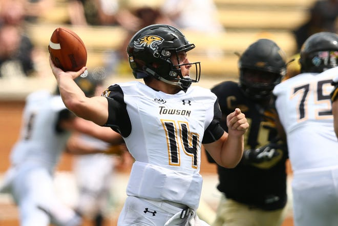 Towson quarterback Tom Flacco throws a pass in a game against Wake Forest earlier this season. Flacco, an Eastern graduate, has found a home with the Tigers after making stops at Western Michigan and Rutgers earlier in his career.