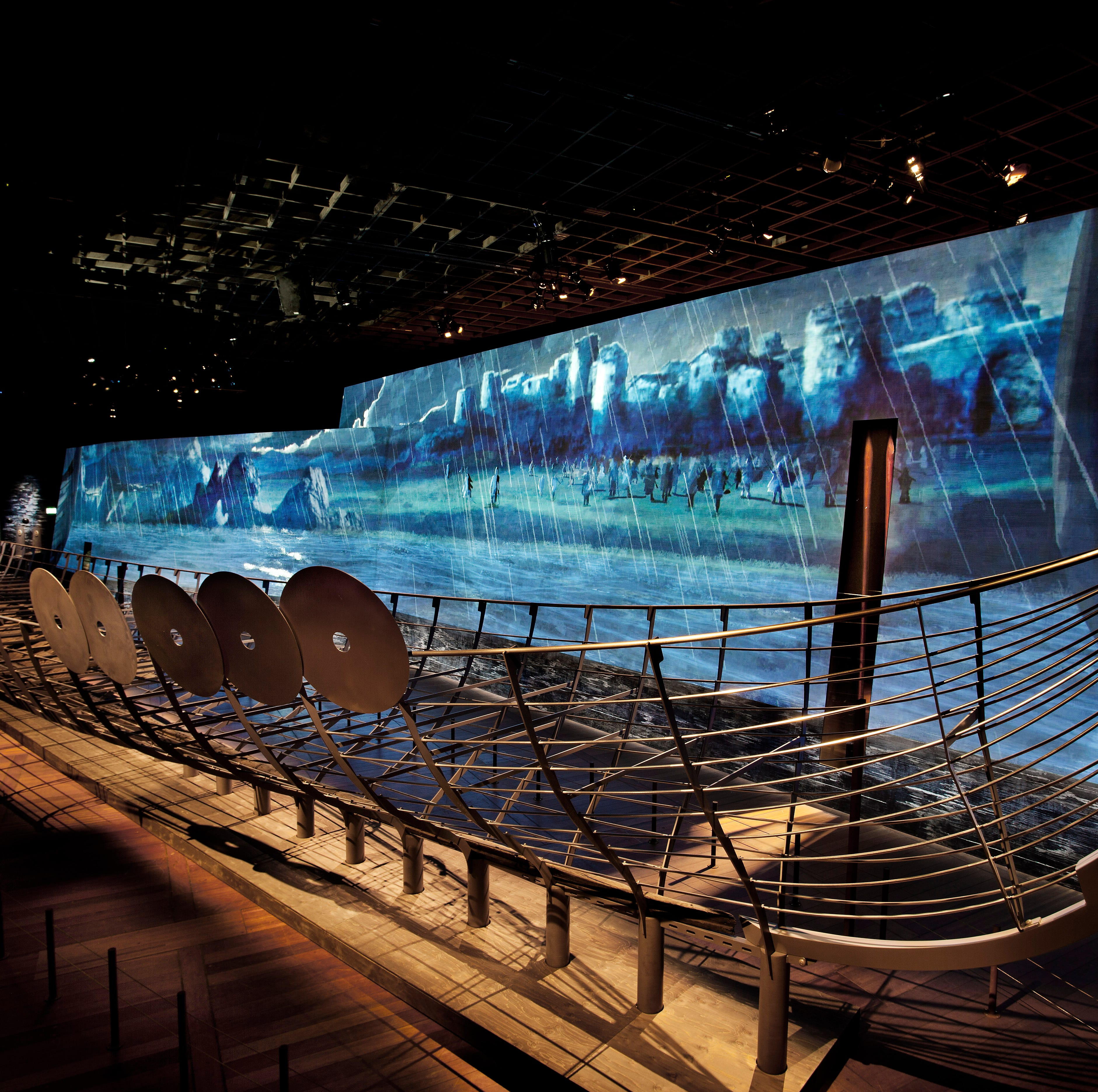 The Roskilde, a 122-foot Viking warship, is reconstructed as part of 'Vikings: Beyond the Legend' at the Franklin Institute.