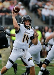 Towson quarterback Tom Flacco passes against Wake Forest on Sept. 8.