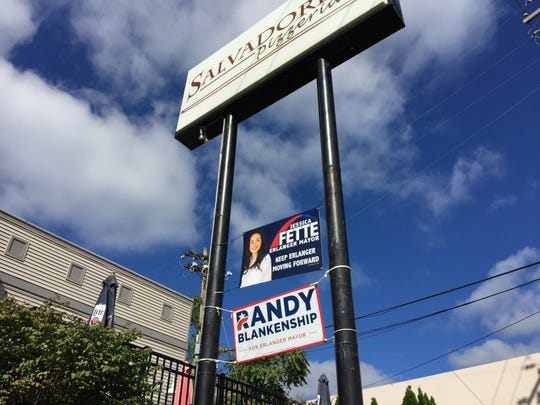 Properties throughout Erlanger have campaign signs for mayoral opponents Randy Blankenship or Jessica Fette. Salvadore's Pizzeria on Dixie Highway has both.