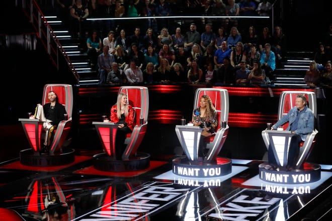 This year's coaches on The Voice are from left, Adam Levine, Kelly Clarkson, Jennifer Hudson, and Blake Shelton.