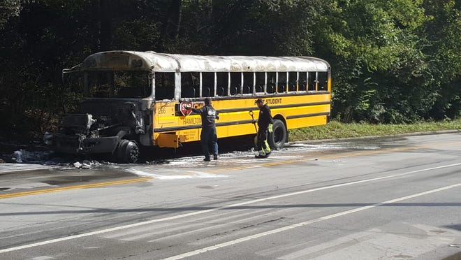 A bus caught fire on Riverside Drive in East End Tuesday.