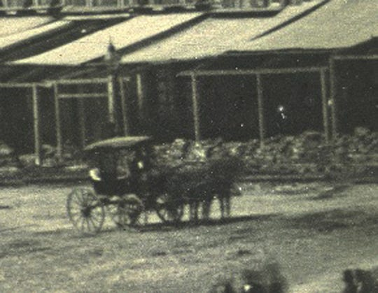This zoom shot from Plate 2 shows a horse-drawn carriage near the top of the Public Landing. Provided photo.