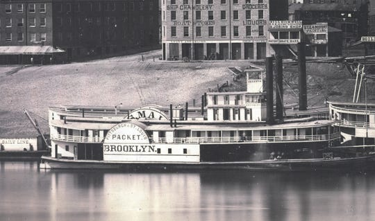 A close-up of the Brooklyn steamboat. Look closer and you'll notice people on the boat deck. Provided