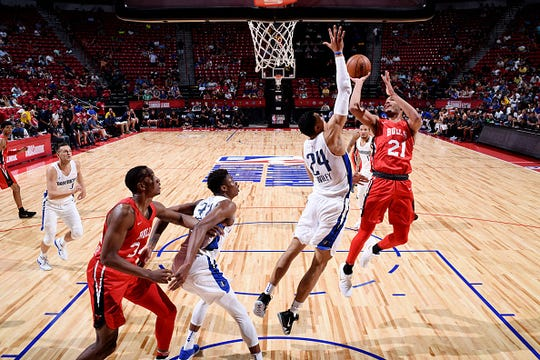 Kaiser Gates of the Chicago Bulls shoots the ball against the Dallas Mavericks during the 2018 Las Vegas Summer League on July 11, 2018 at the Thomas & Mack Center in Las Vegas, Nevada.