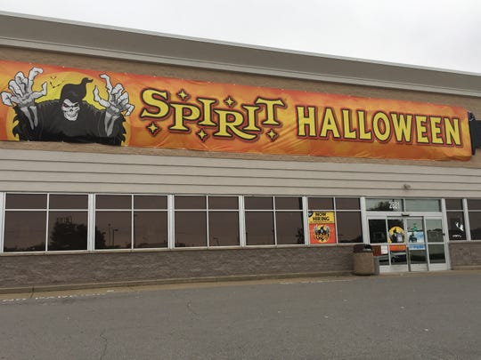 The former Toys R Us space at Governor's Square is temporarily occupied by a Halloween merchandise retailer.