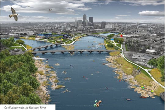 The water trails vision at the confluence of the Des Moines and Raccoon rivers.