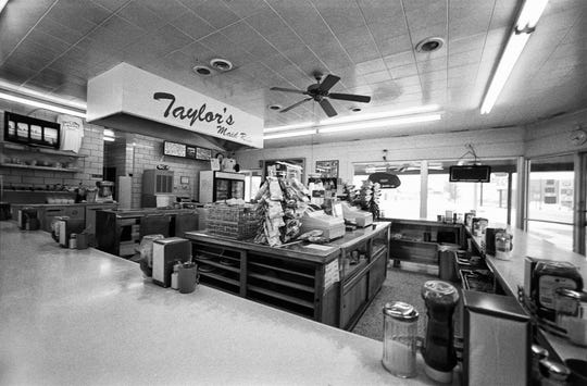 Picking up a bite to eat at Taylor's Maid Rite in Marshalltown, Iowa.
