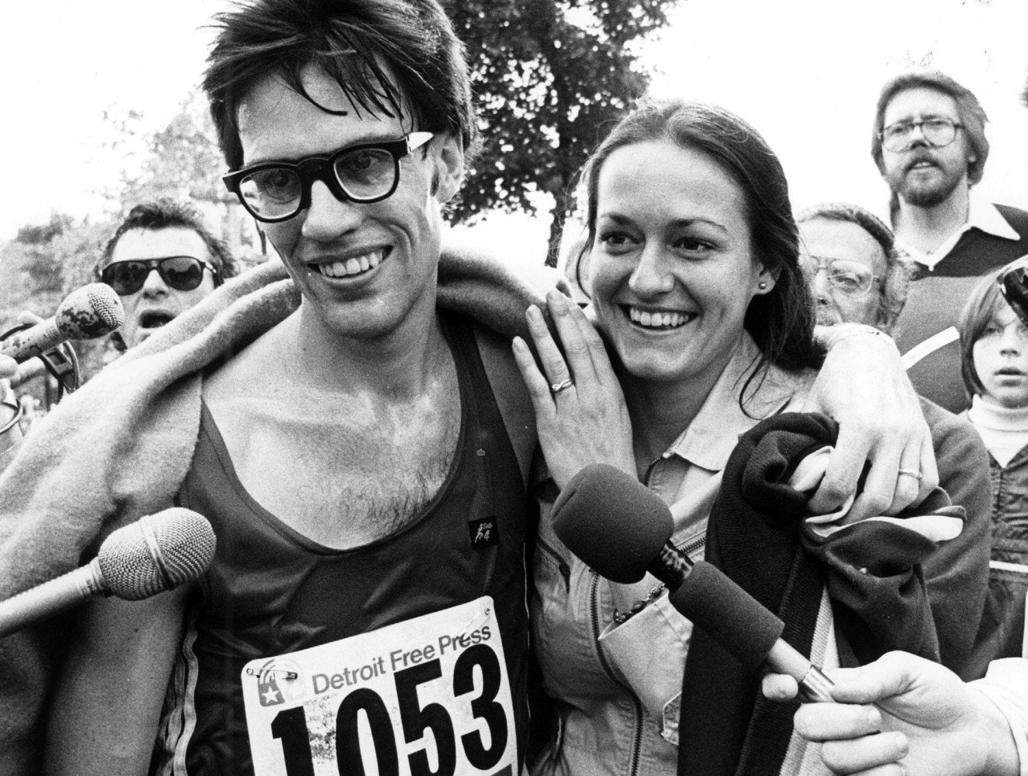 Robert McOmber just after winning the men's division of the first Detroit Free Press International Marathon in 1978.