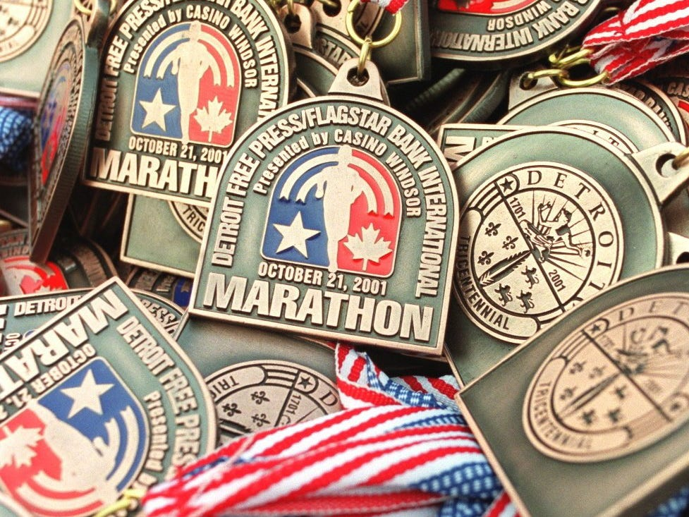 Medals await the finishers of the Free Press/Flagstar Bank International Marathon in 2001.
