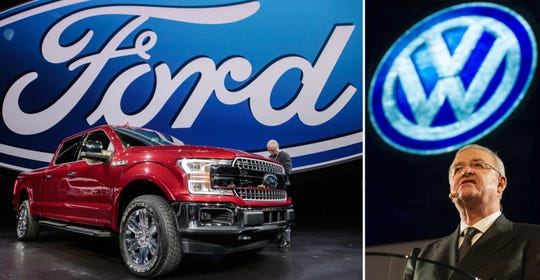 Left: The 2018 Ford F-150 is revealed during the 2017 North American International Auto Show in Detroit in January 2017. Right: Volkswagen Chairman Martin Winterkorn speaking to the media on the eve of the NAIAS in 2017.