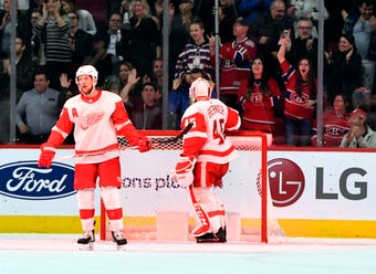 The Detroit Red Wings want to react better when an opponent scores. Video from Wednesday, Oct. 17, 2018, at Little Caesars Arena.