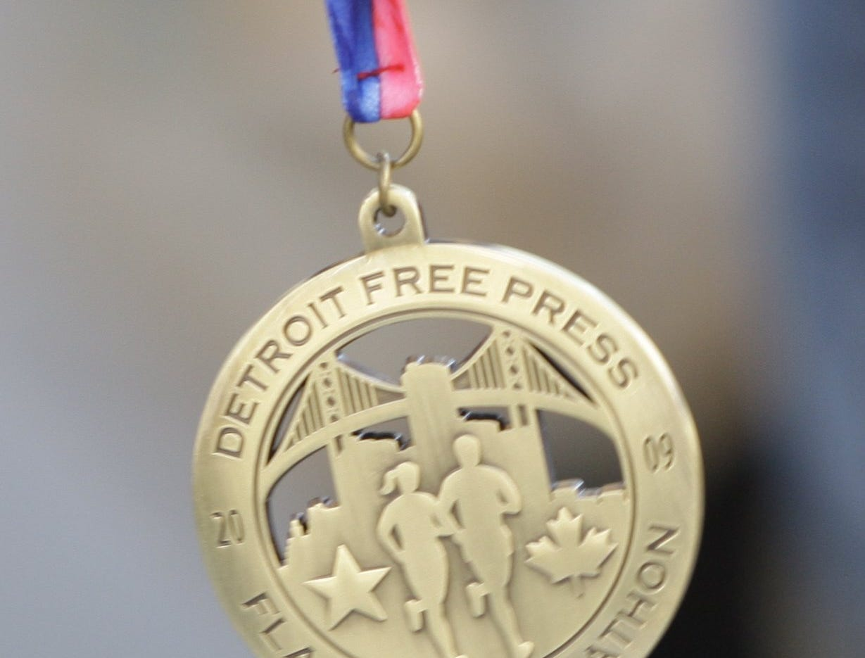 The medals awarded to full Marathon Runners after they cross the finish line of  the 2009 Detroit Free Press/Flagstar Marathon in Detroit, MI. on Sunday, October 18, 2009.