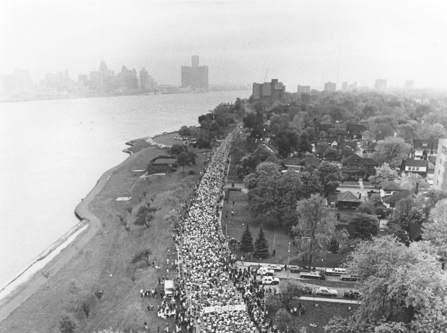 View of Detroit from the Windsor start of the Free Press International Marathon in 1978.