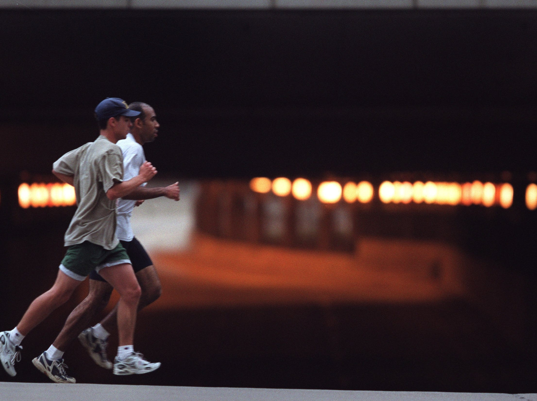 Runners pass the closed underpass below Cobo Hall on Washington Blvd between the 10 and 11 mile marks after already crossing both the bridge and the tunnel to and from Canada during the 23 annual Detroit Free Press/Flagstar Bank International Marathon Sunday October 15, 2000.