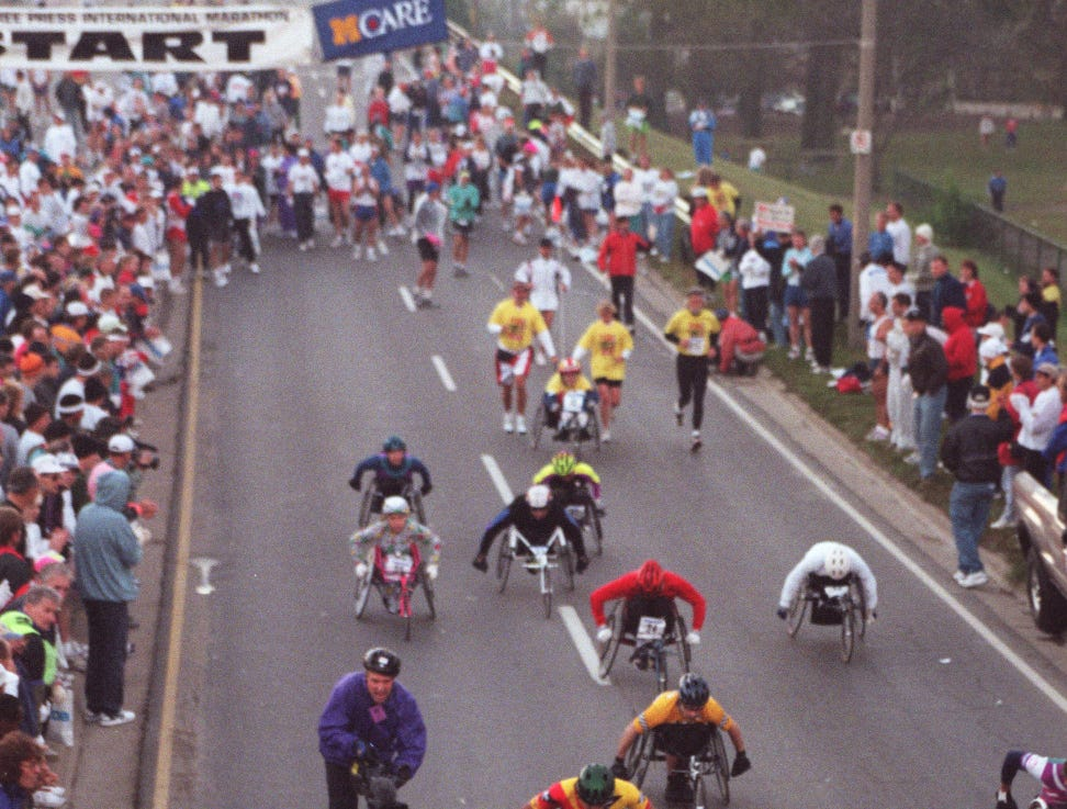 Start of the wheelchair division in the Free Press/Mazda marathon in Windsor in 1997.
