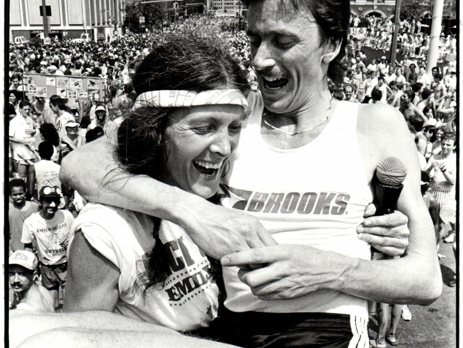 Detroit Free Press marathon winners react after the race in 1984.