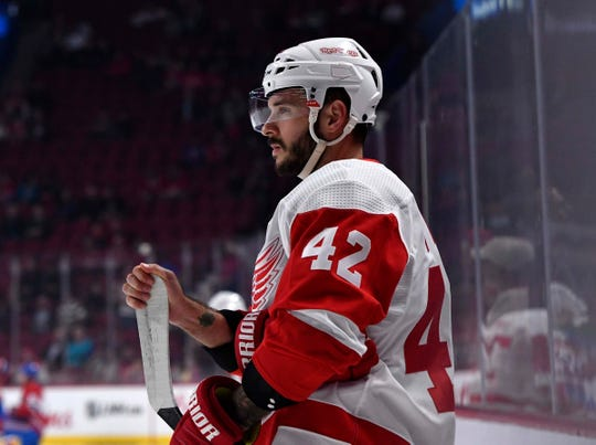 Detroit Red Wings forward Martin Frk stretches during warmups before the game against the Montreal Canadiens at the Bell Centre on Oct. 15, 2018 in Montreal, Quebec.