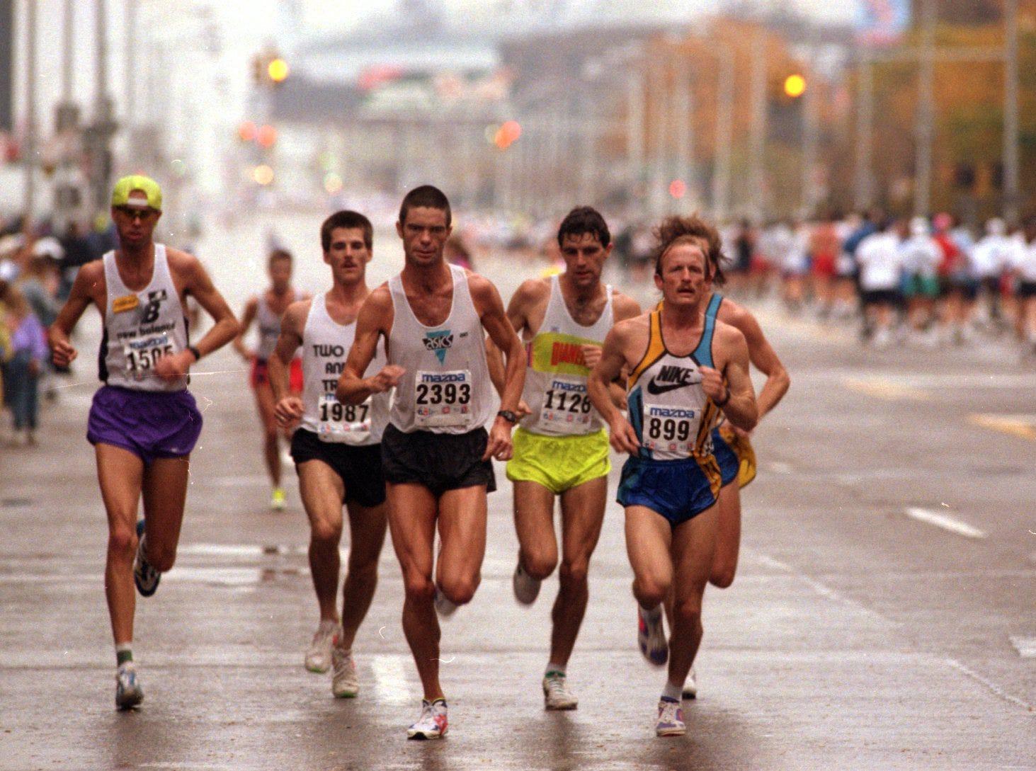 Runners participate in the annual Free Press marathon in Detroit in 1993.
