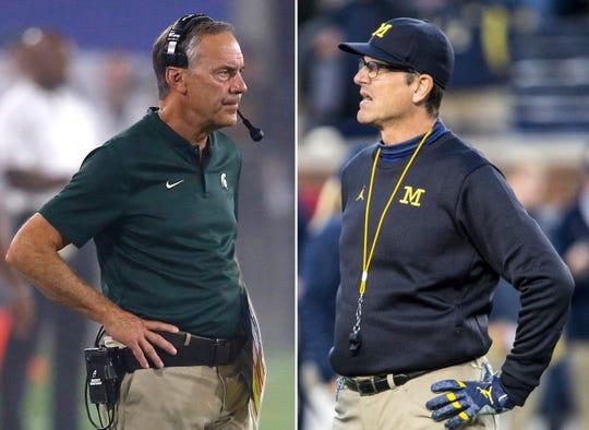 Michigan State head coach Mark Dantonio, left, and Michigan head coach Jim Harbaugh.