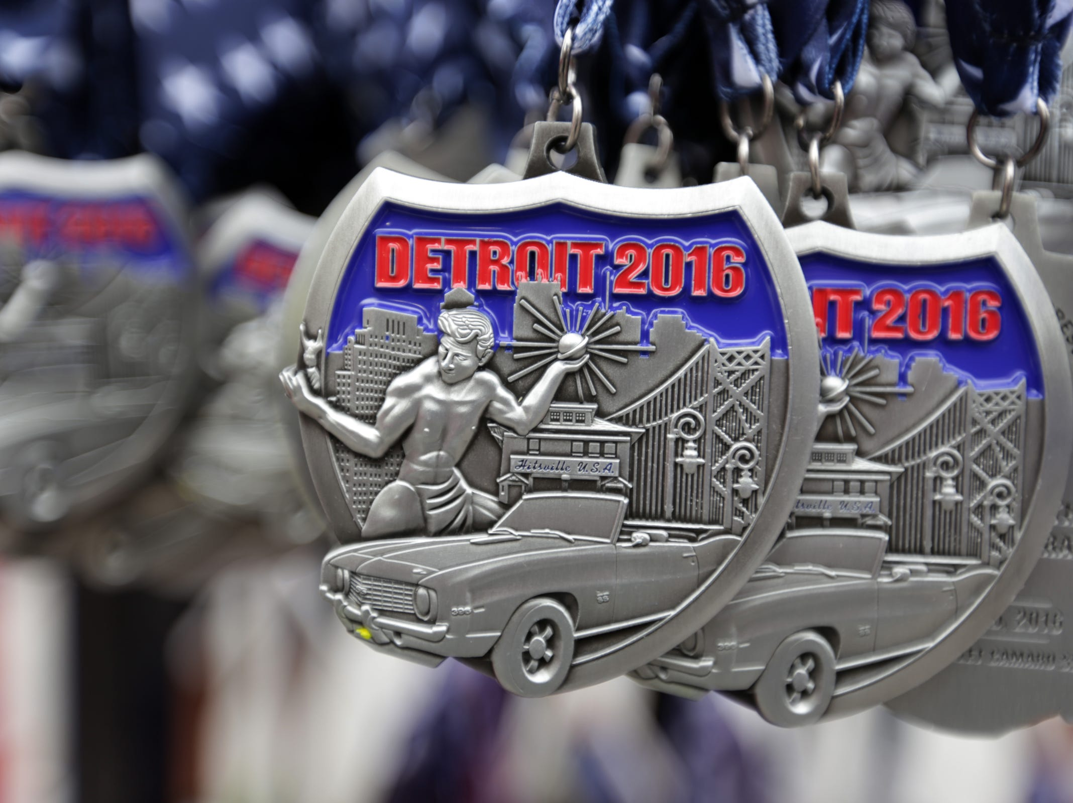 Medals for the 39th Annual Detroit Free Press/Talmer Bank Marathon in Detroit on Sunday, Oct. 16, 2016.