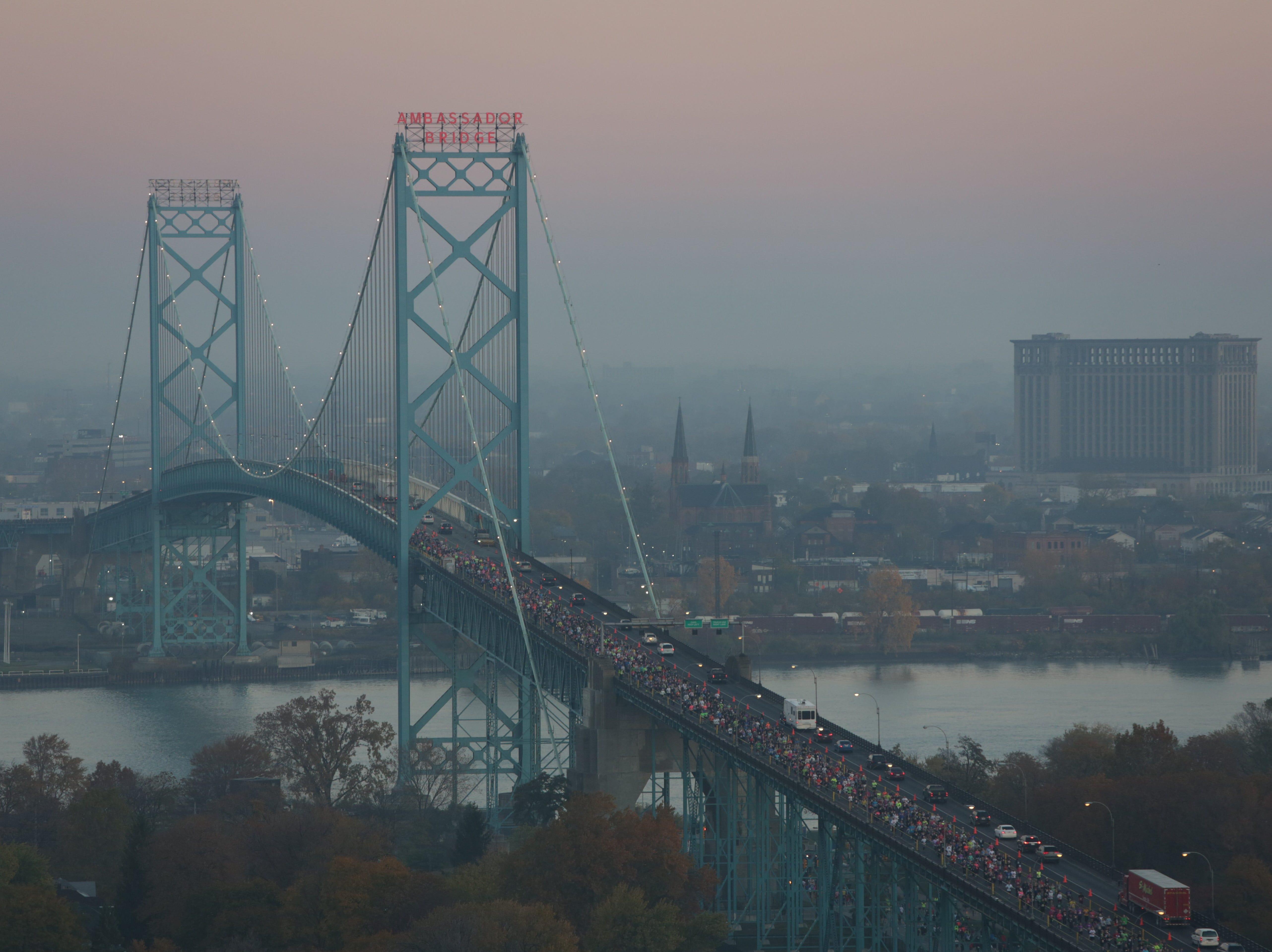 Aerial view of runners crossing the Ambassador Bridge during the Detroit Free Press/ Talmer Bank Marathon in Windsor, Ontario, Sunday, Oct. 21, 2012.
