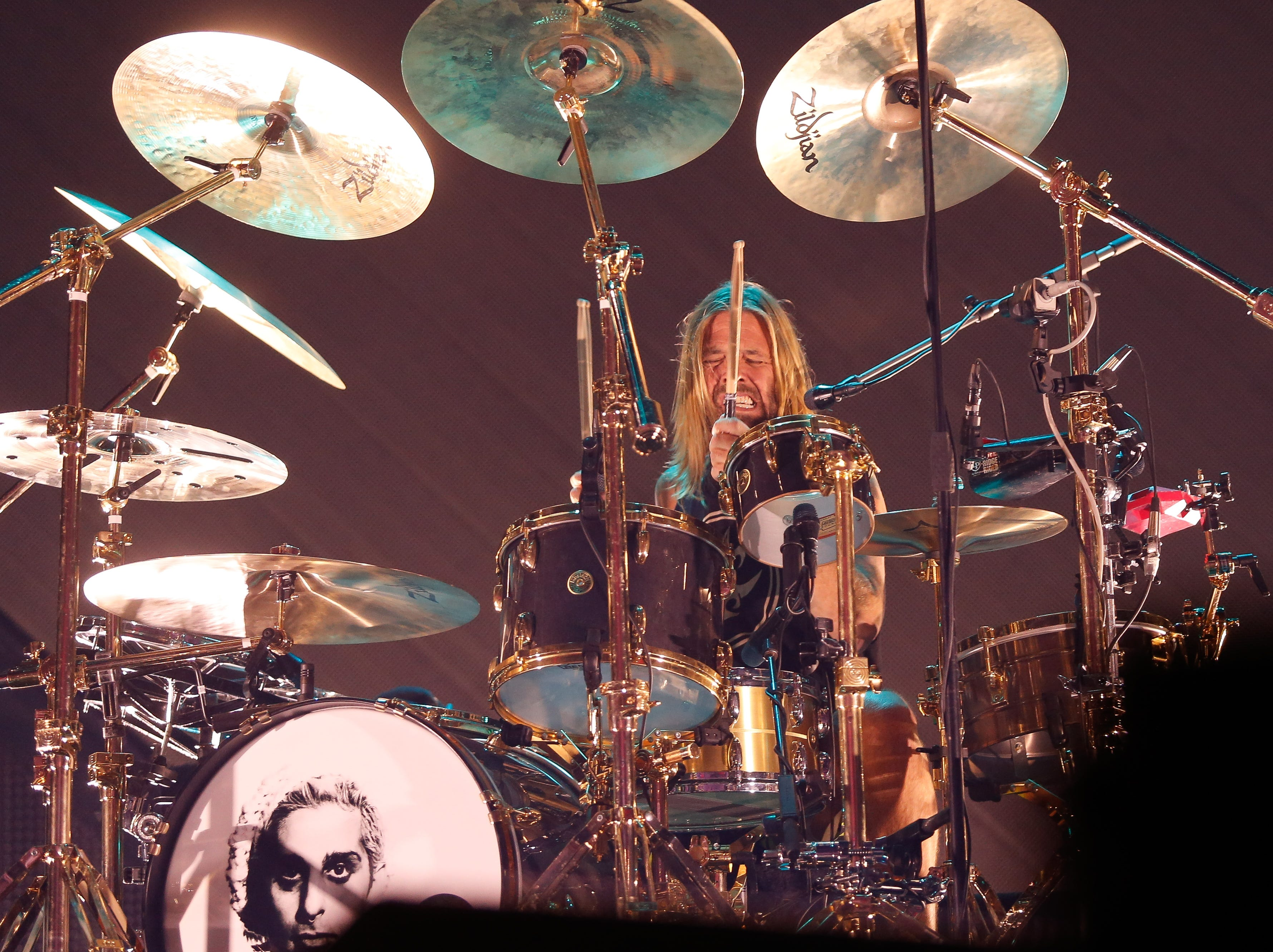 Drummer Taylor Hawkins performs with the Foo Fighters Monday night at Little Caesars Arena.