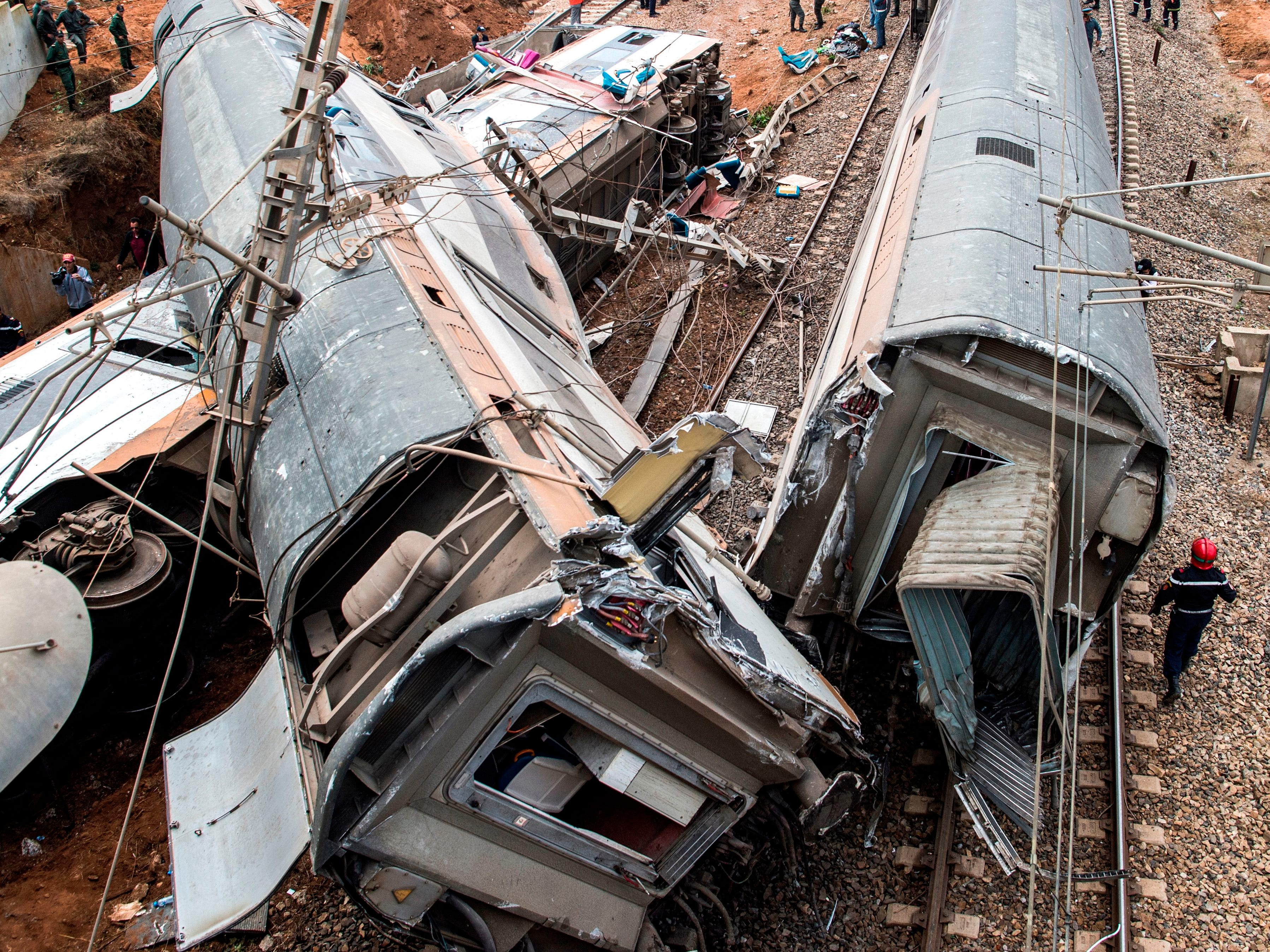 This picture taken October 16, 2018, shows a train wreck in the Moroccan town of Bouknadel. The detrailment resulted in at least six deaths including the driver and more than 70 injuries.