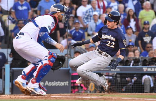 Brewers At Dodgers For Game 3