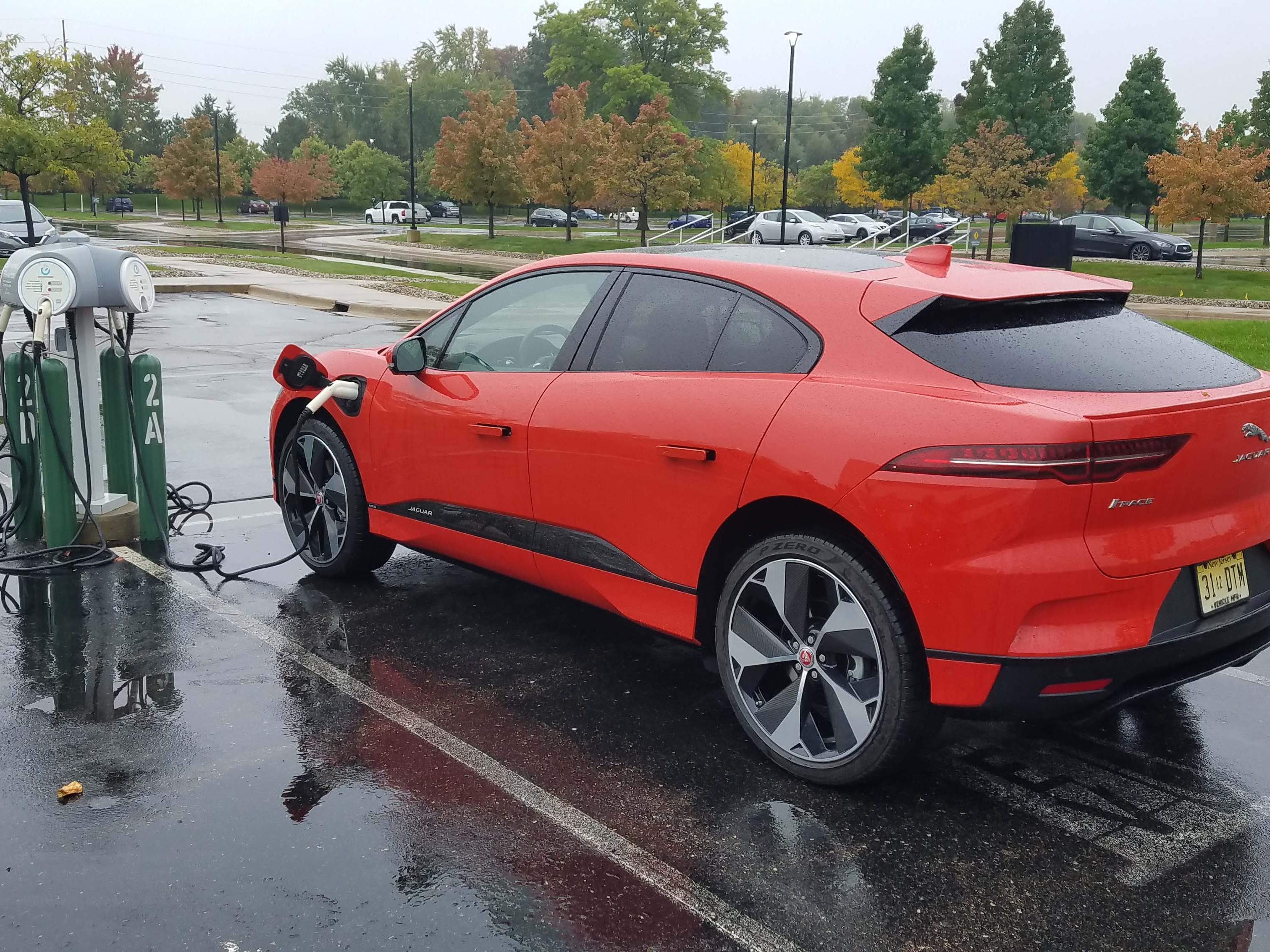 The Jaguar I-Pace charges on a 240-volt charger Saturday afternoon for two hours while Payne gets work done on his laptop inside.